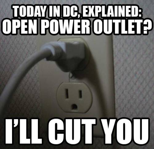 Let's be honest with ourselves, residents of DC: We're kind of jerks to one another when the power's out in our homes and we have to go to coffee shops just to charge our laptops and cell phones. (It's understandable, just sort of weirdly cutthroat.) I've personally seen this dynamic at half a dozen places today, including a Barnes & Noble full of people laying on the floor trying to keep their laptops charged while their power was out. It doesn't have to be like this though. Want to make friends today? Bring a power strip with you to Panera. (photo by edkohler) — Ernie @ SFB