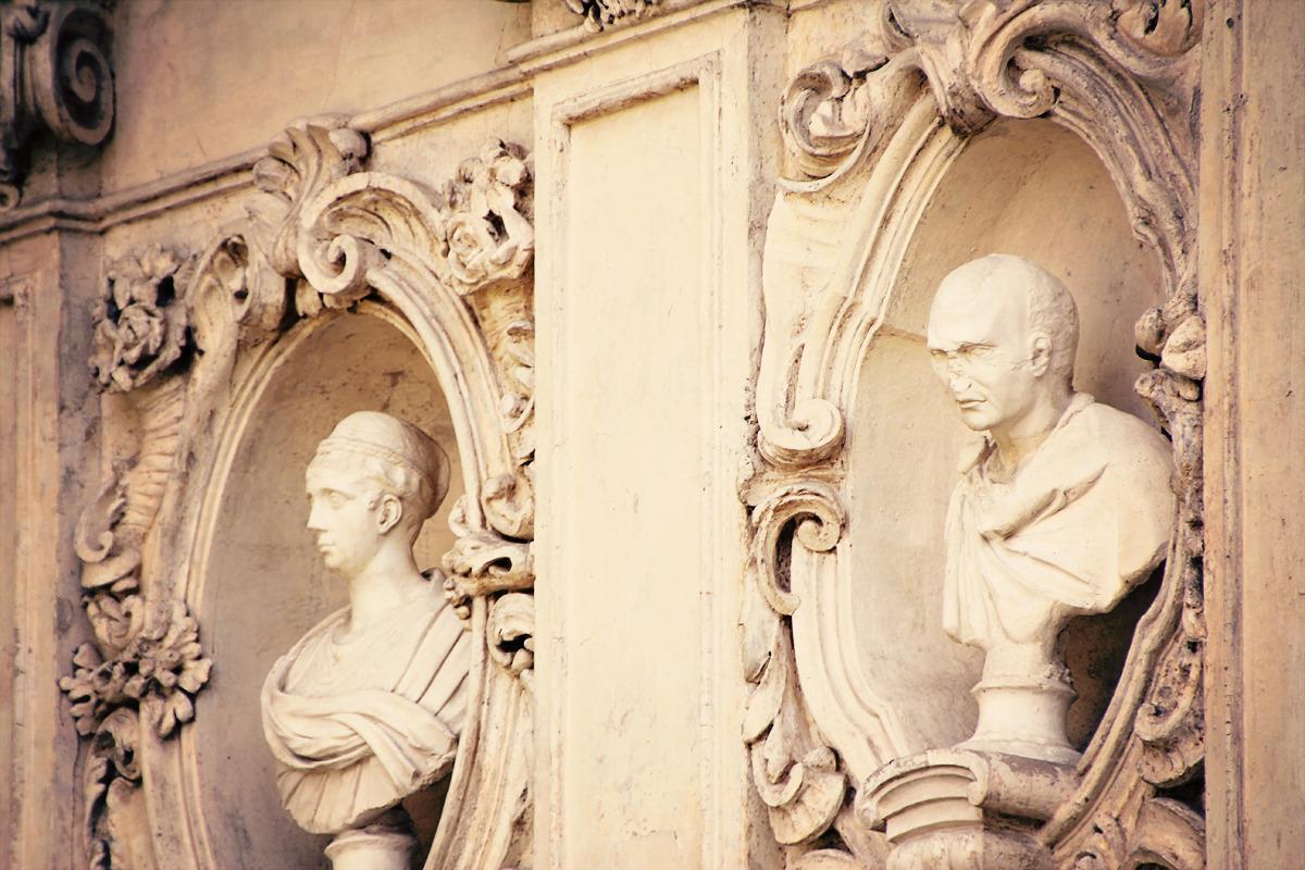 Villa Borghese statue niche detail, secret garden courtyard, rome, italy, 2012 (digital)