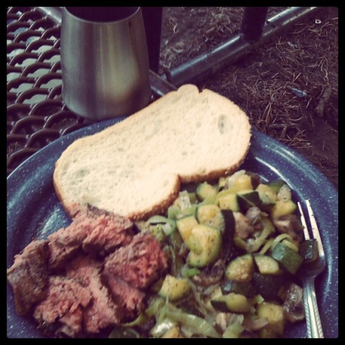 camping menus, camp veggies, steak and veggies