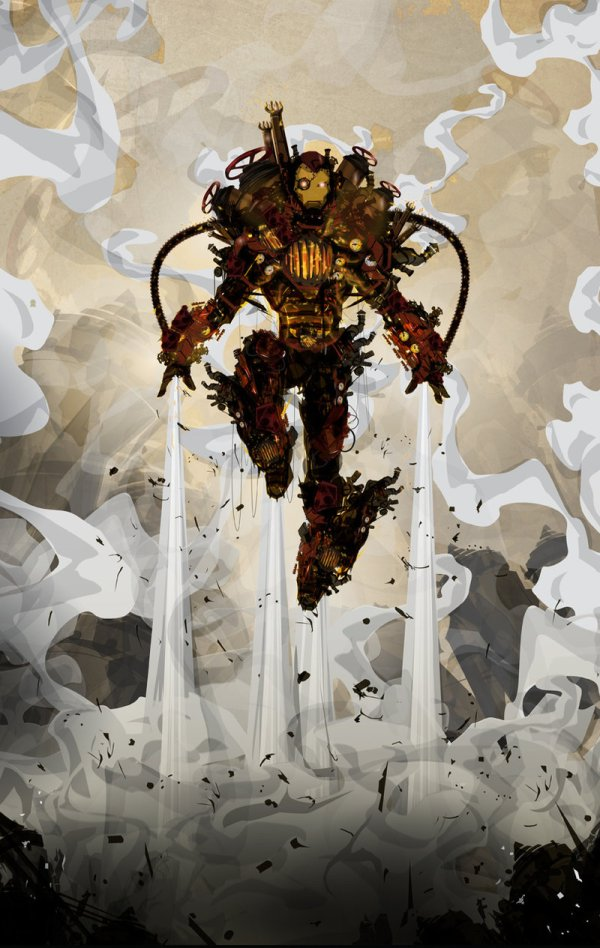Geek Art Painting Illuminated Steampunk Iron Man