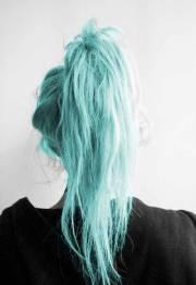 hair ponytail teal