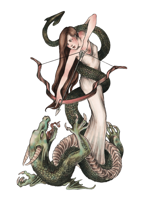 caitlynkurilich:  Ariadne and the Dragon, graphite and digital…