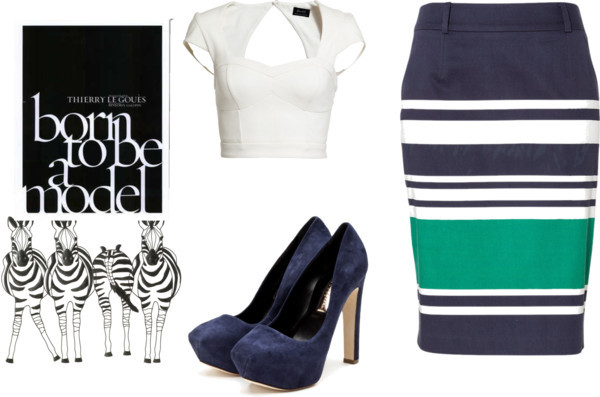 Striped Skirt by natz-the-rebel featuring high heels