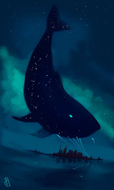 Kpop Quotes Wallpaper Illustration Art Birds Painting Night City Stars Fish Sea