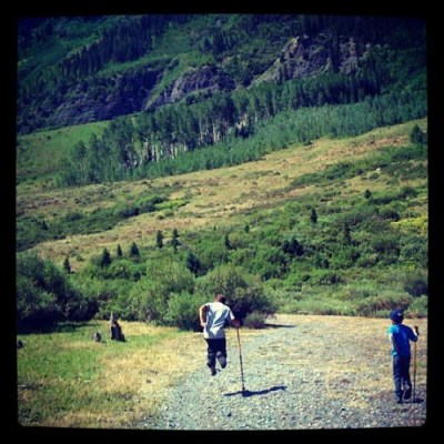 trekking poles, misuse of walking sticks, kids hiking in colorado