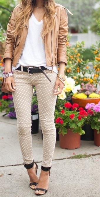 polka dot neutral skinny jeans