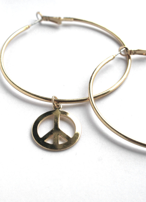 TOPSHOP XL Peace sign drop Hoop Earrings in Polish Gold