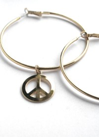 TOPSHOP XL Peace sign drop Hoop Earrings in Polish Gold ...