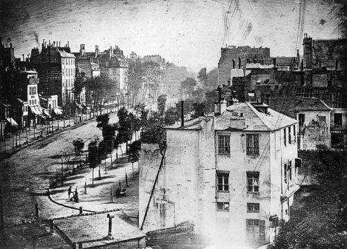 The oldest known photograph of a person, 1838 – a Parisian getting his shoes shined. It was taken in the middle of a busy street, but because the exposure time was over 10 minutes, the moving traffic wasn't captured. Because the man stood still long enough to have his boots polished, he was captured in thedaguerreotype.