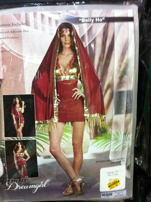 """helladesi:  Okay this BollyHo costume is so wrong I actually LOL'd one time. But on the real, fuck that.  Do you ever see something and the thought that someone had to design it blows your mind? Me too. The manufacturer, """"Dreamgirl Costumes,"""" makes all kinds of fail."""