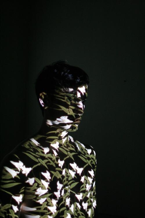 art portrait flowers man shirtless vertical experimental