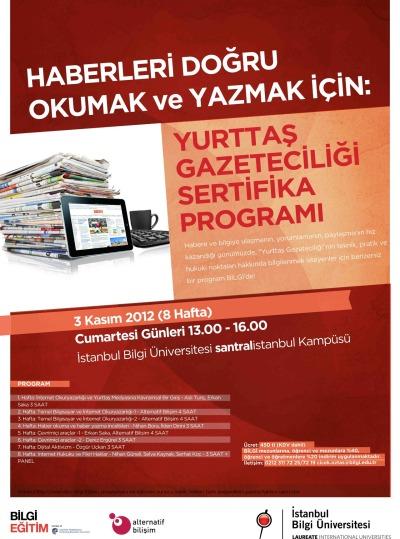 Yurttaş Gazeteciliği Sertifika Programı yeni dönemini, yeni eğitmenleri ve yenilenmiş programıyla 3 Kasım 2012 tarihinde açıyor.<br /> Kayıtlar 15 Ekim'de başlıyor!