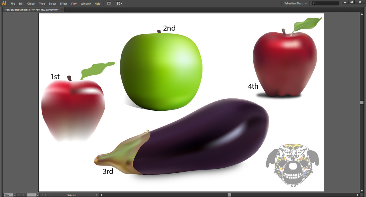 Vector gradient mesh fruit Ai CS6