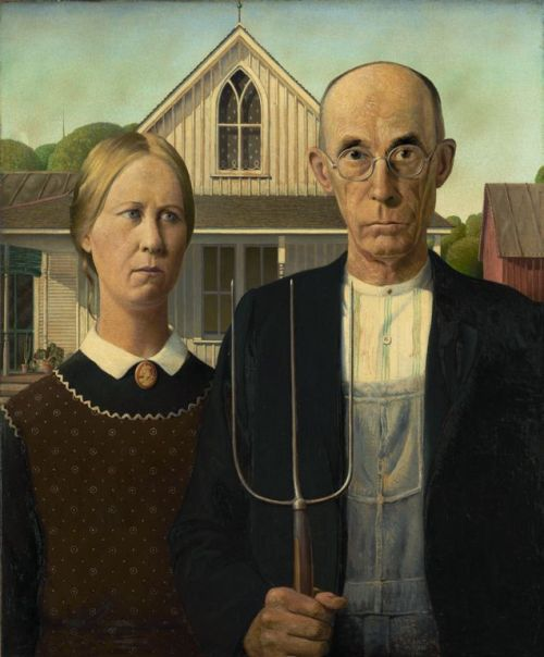 Grant Wood American Gothic, 1930 Oil on Beaver Board, 78 x 65.3 cm (30 3/4 x 25 3/4 in.) Grant Wood adopted the precise realism of 15th-century northern European artists, but his native Iowa provided the artist with his subject matter. American Gothic depicts a farmer and his spinster daughter posing before their house, whose gabled window and tracery, in the American gothic style, inspired the painting's title. In fact, the models were the painter's sister and their dentist. Wood was accused of creating in this work a satire on the intolerance and rigidity that the insular nature of rural life can produce; he denied the accusation. American Gothic is an image that epitomizes the Puritan ethic and virtues that he believed dignified the Midwestern character.