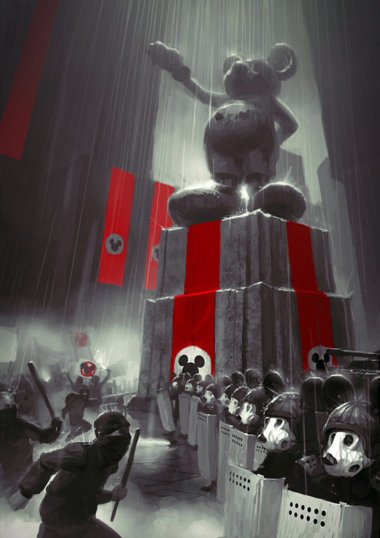 lospaziobianco:  1 - Mickey no more by ~bopchara 2 - Creepy Mickey-inspired illustration by Manuhell 3 - Mickey Mouse by Casey Weldon 4 - Disney Acquires Lucasfilm by Austin Madison