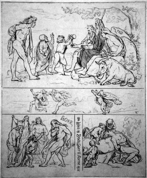 'Loki loses his bet' by Lorenz Frølich (1885. Public domain)