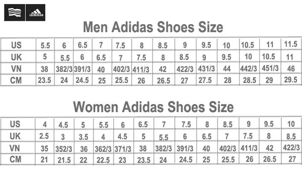 Bảng size giày adidas