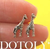 Tiny Giraffe Animal Stud Earrings In Sterling Silver on Luulla