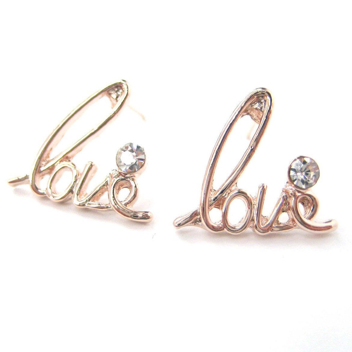 Love Cursive Stud Earrings In Light Gold With Rhinestone Details on ...