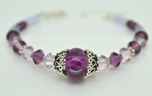 Free Shipping Purple Bracelet Lampwork Glass Amethyst