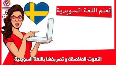 النعوت الملاصقة و تصريفها باللغة السويدية