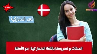 الصفات و تصريفها باللغة الدنماركية/ مع الأمثلة