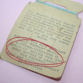 vintage buttons - back of card