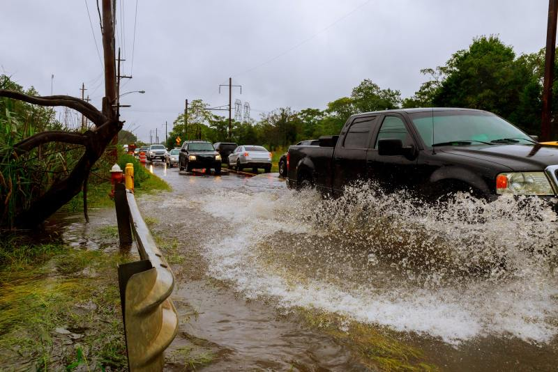 Flooded feeder street