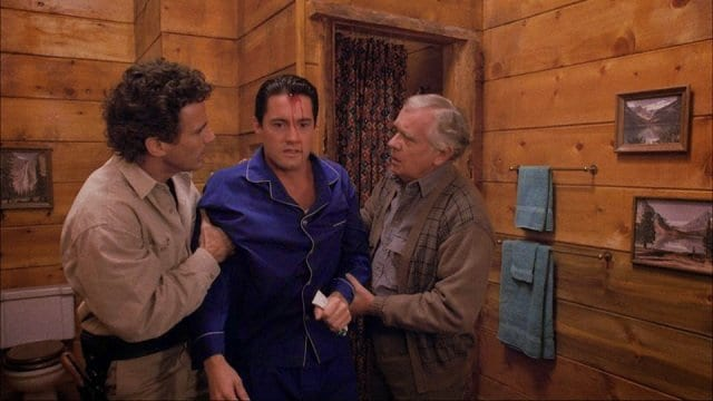 Sheriff Truman, Agent Cooper and Doc Hayward at the Great Northern