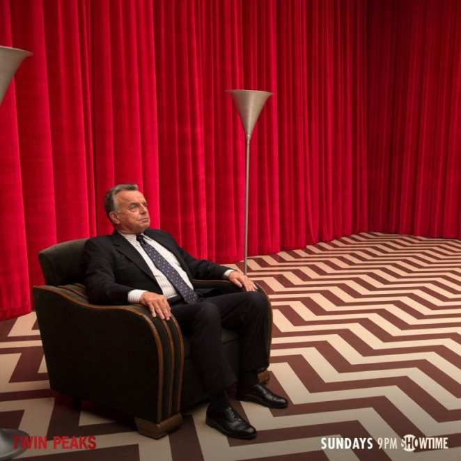 Leland Palmer sat in the black lodge, asking cooper to find Laura