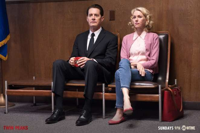 Dale Cooper and Janey-e wait at the police station