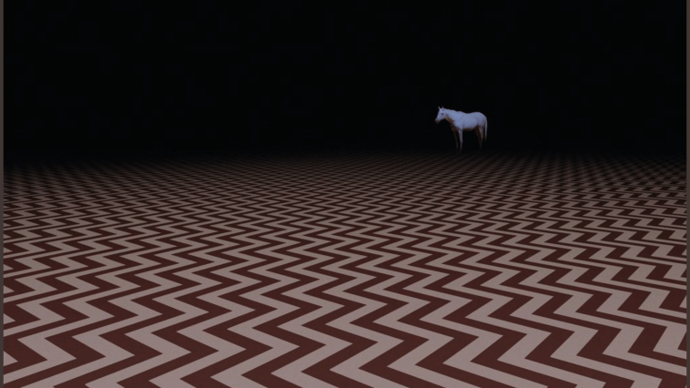 the black lodge chevron floor pattern goes on infinitely into the blackness, where a white horse can be seen in the distance.