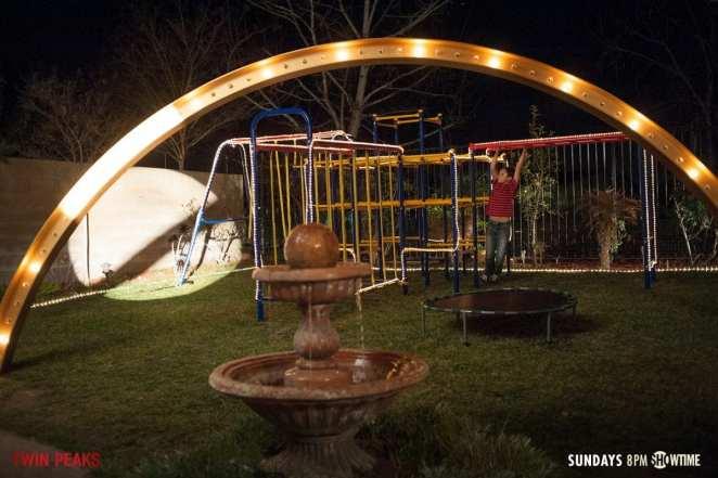 Sonny-Jim swings in his Playground