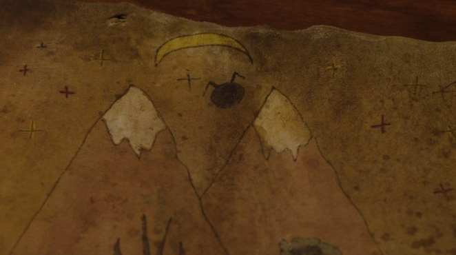 Hawks map with two mountains painted with a strange symbol the stars and crescent moon