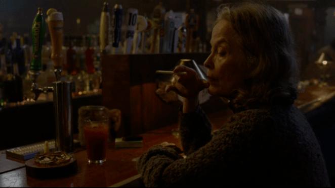 Sarah Palmer drinking at Elks Point bar