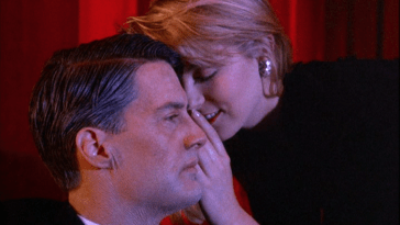 Laura palmer and an old agent cooper in the lodge