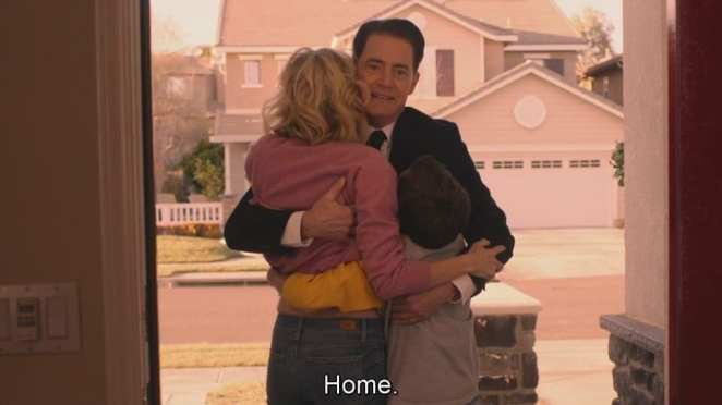 Cooper hugs janey-e and sonny jim on the door step of his home in Vegas