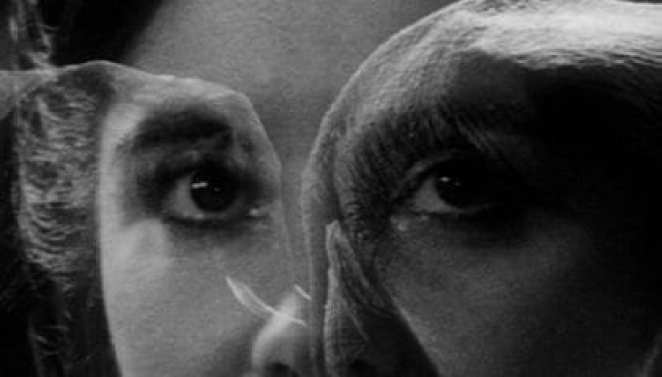 the Elephant mans face projected over the face of a woman