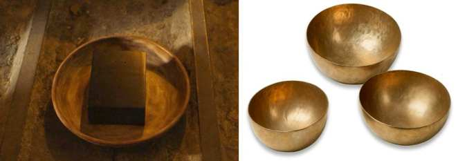Tibetan Singing bowls and the bowl in which the black transmitter sits