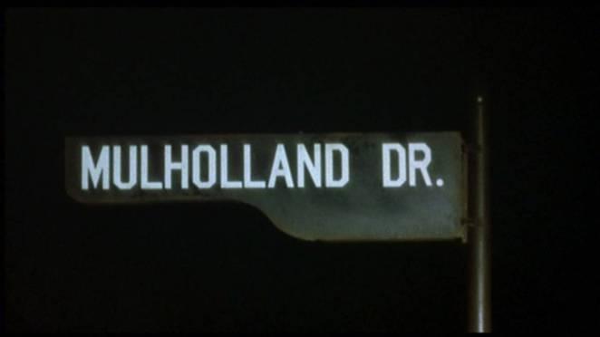 Mulholland Drive Street Sign at night