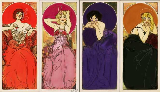 Mucha Twin Peaks Diane, Candie, Audrey and Laura, Mucha style by Lula Wayne