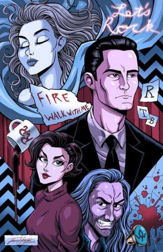 A montage of Twin Peaks characters and objects in comic art style: Cooper, Audrey, BOB