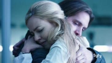 Cole and Cassie hug in 12 monkeys
