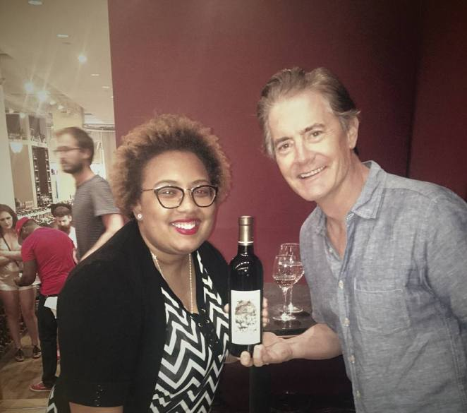 Bret and her friend Kyle at his wine event in New York