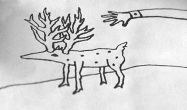 A hand reaches toward a doglike thing with antlers