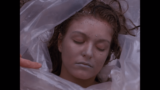 Sheryl Lee wrapped in plastic in Twin Peaks