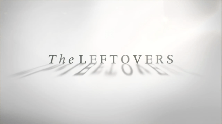 """The words """"The Leftovers"""" appear on a white background, with the shadows of the letters in the foreground, on a title card for the series"""