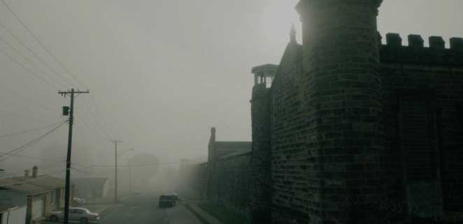 shawshank prison looking menacing in the fog