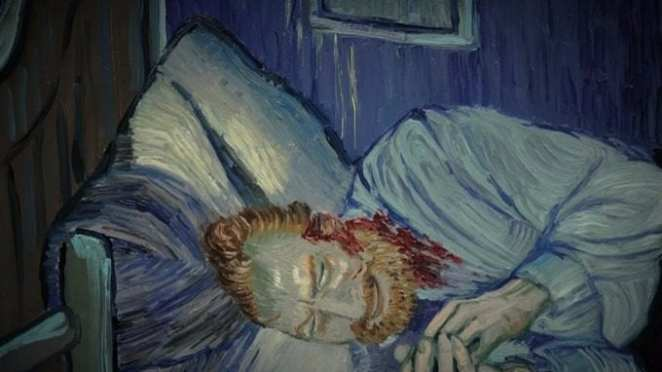Self portrait of Van Gogh lying in bed bleeding after he cut his own ear off