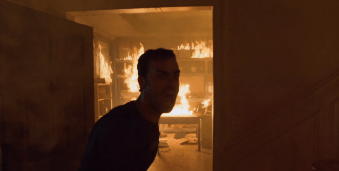 Kevin screams for Jill as the house burns around him